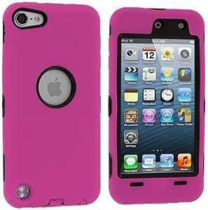 Importer520 混合坚固的硬硅胶保护套带支架 适用于 Apple iPod Touch * 5 代 5G 5 Hybrid Black+Hot Pink