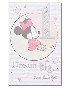 生日卡片 Mickey Mouse 1st Birthday Card for Girl Mickey Mouse 1st Birthday Card for Girl
