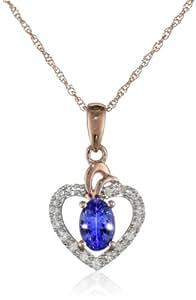 玫瑰-金钻石和坦桑黝帘石钻心形吊坠项链(0.1克拉总重,G-H 颜色,I1-I2 净度),43.18 厘米