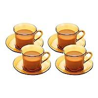 DURALEX 多莱斯 简约咖啡杯碟套装8件套琥珀色法国进口