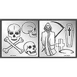 Aleks Melnyk #75 金属模板邪恶骷髅/不锈钢模板套装 2 件/壁画,适用于绘画/模板,用于家居装饰/女孩男孩房间墙饰