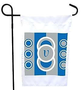 Rikki Knight V 首字母炫目蓝色圆圈设计房子或花园旗帜,30.48 x 45.72 cm 旗帜尺寸带 27.94 x 27.94 cm 图像