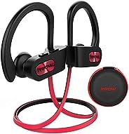 Mpow Flame [升級] 藍牙耳機,IPX7 防水富士低音立體聲無線運動耳塞,帶麥克風,10~12H 電池降噪耳機用于跑步、慢跑、騎自行車、鍛煉