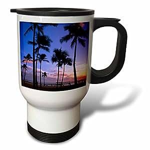 danita delimont–夏威夷–日落 ON waikiki 海滩 oahu ,夏威夷,美国–us12mde0010–MICHAEL defreitas–旅行杯 白色 14 oz