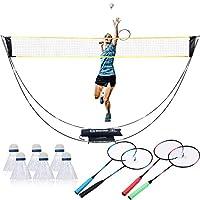 11件完整羽毛球套装,9.8英尺(约24.9厘米)便携式网,4个球拍,6个飞镖球适用于初学者,家庭,球类游戏户外团队运动