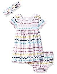 Gerber 女婴 3 件套连衣裙,尿布套和头带套装