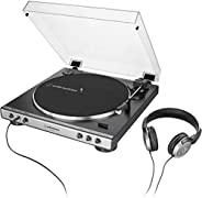Audio-Technica AT-LP60XHP Fully Automatic Belt-Drive Turntable, Gunmetal/Black, Hi-Fidelity, Plays 33 -1/3 and 45 RPM Record