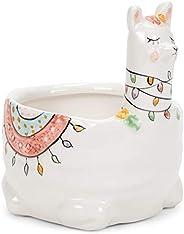 Transpac Native 异想天开美洲驼独角兽 6 x 6 陶瓷装饰桌面花盆 6 x 6 白色 A4998