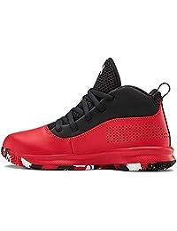 Under Armour 中性款学前锁定4篮球鞋,红色(601)/黑色,11K M 美国小童