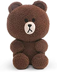 GUND Line Friends 棕色坐墊毛絨動物熊,棕色,7 英寸