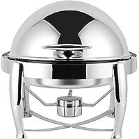 ChefMaid Virtuosa S/S 6 夸脱圆形切碎器,卷顶套装包括煎锅、水盘和燃料架 - 耐用闪亮的银色,在餐饮活动中保持食物温暖 + 免费厨师围裙。