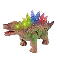 iTao 儿童走路恐龙玩具 侏罗纪电动恐龙玩具 电池供电移动恐龙玩具 带闪烁和声音 (剑龙)