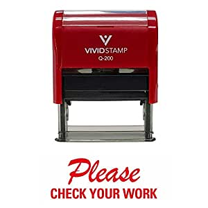 "Please Check Your Work Teacher 自动充墨橡胶印章 3/4"" x 1-7/8"" - Large 红色"