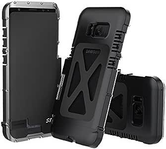 三星 Galaxy 8 手机壳重型盔甲风格王炫酷全身装甲混合防震豪华铝金属保护壳适用于三星 Galaxy S8 Armor King Silver+Black