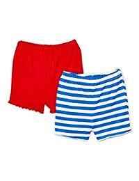 WONDERCHILD 2 件装婴儿短裤男孩女孩中性款 * 纯棉 0-6 个月可调节腰围(颜色可能不同)蓝色红色