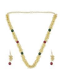 Efulgenz 时尚印度宝莱坞 14 K 镀金人造珍珠新娘珠串宣言项链耳环婚礼珠宝套装 多种颜色