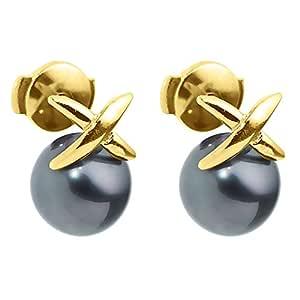 珍珠和颜色耳环 9 克拉 375 黄金养殖塔希提语 9BOT11 PC