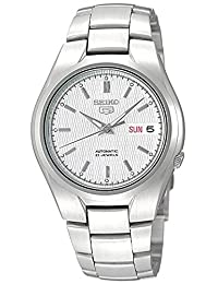 Seiko 男士 SNK601 Seiko 5 自动银色表盘不锈钢表链手表