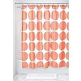 iDesign 几何织物圆点防水儿童浴帘 珊瑚色 75063