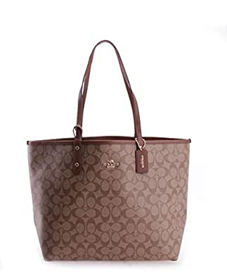COACH REVERSIBLE CITY TOTE IN SIGNATURE F36658 IME74 (IM/KHAKI/SADDLE 2)