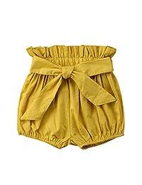 Yiner 幼童女婴蝴蝶结褶皱短裤可爱灯笼裤宽松短裤