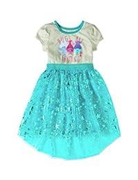 Dreamworks trolls 女童亮片图案短袖网眼连衣裙铝箔花朵印花