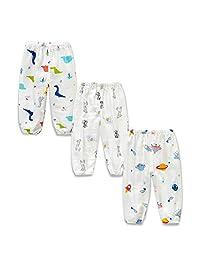 SOBOWO 婴儿长款灯笼裤夏季卡通印花休闲哈伦裤 3 件装 适合幼儿男孩女孩