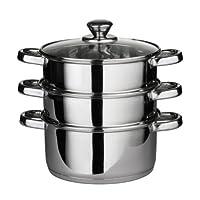 Premier Housewares 不锈钢蒸锅,带玻璃盖,22 厘米 银色 28 x 22 x 25 cm 0408129