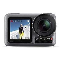 DJI 大疆创新 Osmo Action-4K 12MP 行动相机,带2个显示屏36英尺水下防水WiFi HDR视频145°角度,黑色
