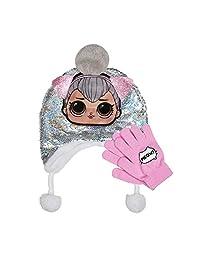 L.O.L 惊喜双面银色魔法亮片拉普兰帽,带小球和手套套装 2 件女孩冬季配饰套装 粉色