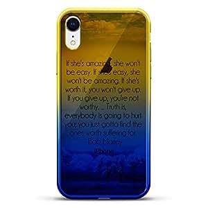 奢华设计师,3D 印花,时尚,高端,高端,Chameleon 变色效果手机壳 iPhone XrLUX-IRCRM2B-QMARLEY1 QUOTE: B. MARLEY QUOTE 蓝色(Dusk)