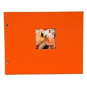 Goldbuch Schraubalbum,Bella Vista,30 x 25 x 2 厘米,40 页白色带透明纸,带小窗,可加页,亚麻布 Orange 39x31 cm