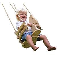 Ecotribe 木制摇摆,幼儿和婴儿秋千,户外和室内使用,环保光滑桦木与天然棉绳,涂漆摇椅,适合 6 个月至 3 岁的宝宝 Horse-varnished