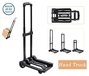 便携式折叠手推车行李平板车可折叠紧凑轻质手推车,适用于行李、移动、旅行和购物使用(美国库存) 40 kg capacity.