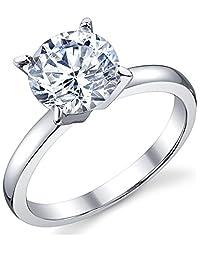 2 克拉圆形明亮方晶锆石 CZ 纯银 925 结婚订婚戒指 尺寸 4 至 11