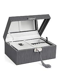 SONGMICS 双层珠宝盒,可锁式珠宝收纳盒,带可折叠托盘,可拆卸隔板,加厚画框,赠送给爱人的礼物,灰色 UJBC232GY