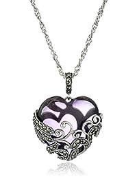 Amazon Collection 美国亚马逊自有品牌 纯银氧化白铁 紫晶着色玻璃金银丝心形 女士吊坠