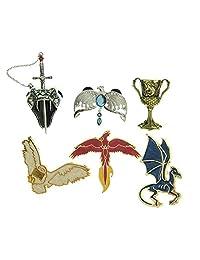 哈利波特拉文克劳·迪德姆·赫菲普杯格兰芬多剑Nagini Hedwig Thestral Phoenix 6件搪瓷销套装