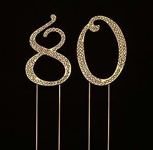 Numbrer 80 适用于 80 岁生日或周年纪念蛋糕装饰用品 金色 2.75 Inches Tall (Gold)