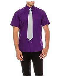 TrueM 男式常规版型短袖正装衬衫