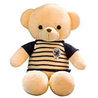 新诚优品 新春年货送福抱抱熊系列复古毛衣毛绒玩具 蓝衣 高80cm+随机一个礼品(亚马逊自营商品, 由供应商配送)