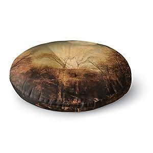 "KESS InHouse Sylvia Coomes ""Full Moon""棕色自然圆形地板枕,58.42 cm x 58.42 cm 多种颜色 26"" x 26"" SC4084ARF02"