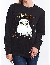 哈利波特套头衫 Hedwig 圆领 - 黑色,图案正面印花,棉质。 (M)