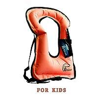 Rrtizan 儿童便携式充气救生衣*管背心,男孩和女孩游泳救生衣
