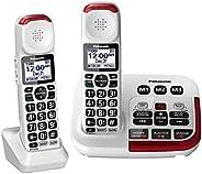 Panasonic 松下 KX-TGM420W + (1) KX-TGMA44W 放大无绳电话带数字应答器和语音音量增强器,高达40分贝(2个听筒)