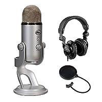 Blue Yeti Studio USB 麦克风专业录音系统带 HPC-A30 封闭式后背工作室监视器耳机和流行过滤器套装