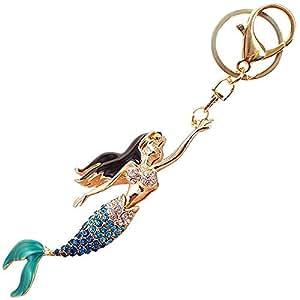 漂亮的美人鱼闪耀魅力闪耀钥匙扣水晶莱茵石吊坠 蓝色。