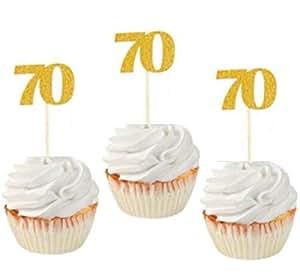 """闪光金/玫瑰金 70 岁生日派对纸杯蛋糕装饰。 24 件装""""70""""纸杯蛋糕装饰 金色"""