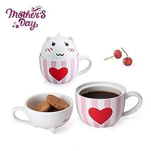 咖啡杯马克杯可爱陶瓷创意猫马克杯趣味茶杯带木盖和勺子创意咖啡 mugs-perfect Gift for Mom/朋友/女朋友/猫爱人 CAT-RED