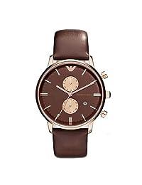 Emporio Armani 安普里奥·阿玛尼 意大利品牌 时尚潮流指针系列 石英手表 男士腕表 棕粉迷情 AR0387